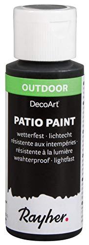 Rayher 38610576 Patio Paint, schwarz, Flasche 59 ml, wetterfeste Acrylfarbe für Den Außenbereich, lichtecht, Farbe für Innen und außen, Outdoor-Farbe