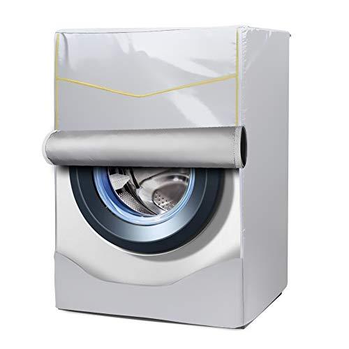 Mr.You Wasmachine cover Wasmachine/Droger Protector Voor Voorlader Machine Zonnebrandcrème Stofdicht met Gouden rand Zilver (M,dikker)