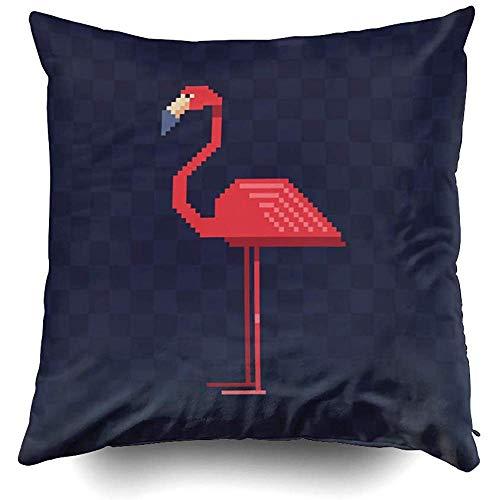 Sonder-Shop Couchkissen Flamingo Vogel Charakter Pixel Iclogo Sticker Marker Random Hatches Ma Dekokissen, Türkis