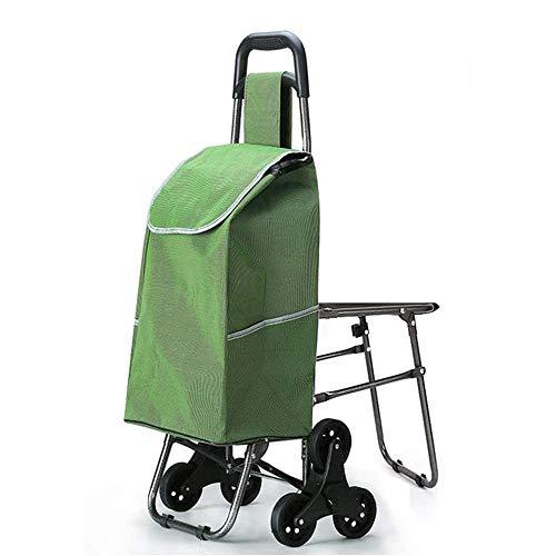 BEANCHEN Leggero Montascale Pieghevole Shopping Viaggi di Alimentari Spesa Valigia Bagagli 6 Pu Ruote Pieghevole con 40L Sedile in Tessuto Oxford Borsa della Spesa Carrello capacità