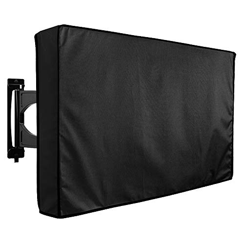 "Outdoor TV Cover 52"" - 55"" - WITH BOTTOM COVER - The BEST Black Quality Weatherproof and Dust-proof Material with Microfiber Cloth. Protect Your TV Now!"