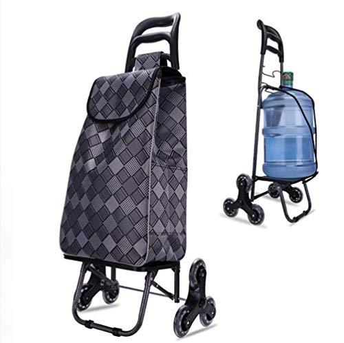 WYZXR Einkaufswagen Tragbare Gebrauchswagen Klappwagen Leichter Treppensteigwagen mit Dreieck-Kristallrad - 70 kg Kapazität,grau a/a