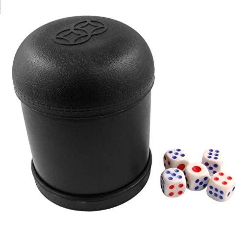 DeoMeat Schwarz Kunststoff Schütteln Cup-Kasten mit 5 PC würfelt Spiel Spielzeug Würfelbecher für KTV Pub Casino Party