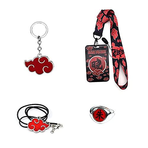 Accesorios de Anime Naruto Xiangyun, collar con cordón de cabeza negra, llavero con colgante, anillo de nube roja, disfraz de Cosplay Unisex