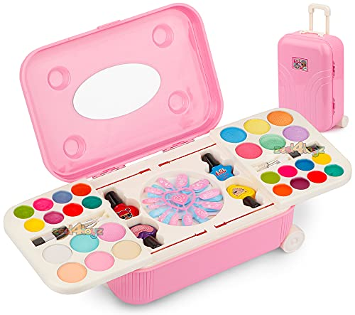 Zest 4 Toyz 2 in 1 Cosmetic Makeup Palette and Nail Art Kit for Kids with Portable Trolly Bag   Pretend Play Toy for Girls -Plastic , Multicolor