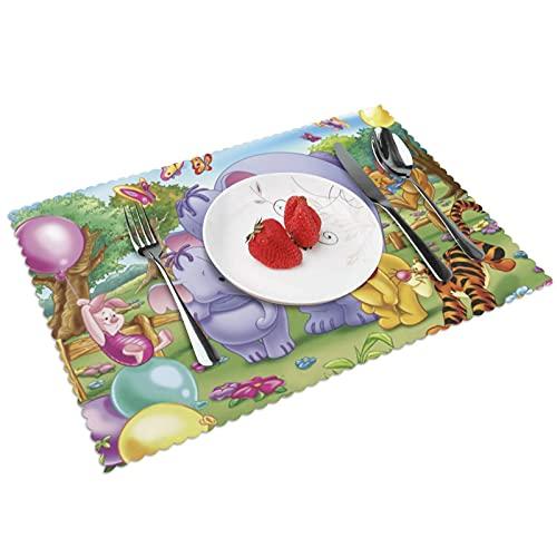 Winnie the pooh - Juego de 4 manteles de cocina (poliéster), lavables y antideslizantes resistentes al calor, fáciles de limpiar.