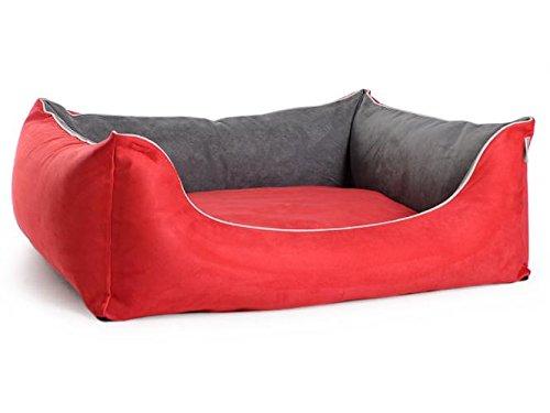 PadsForAll hondenmand hondenmand hondensofa vele kleuren velours, zoals suède topkwaliteit, 90x70cm, roodgrijs.
