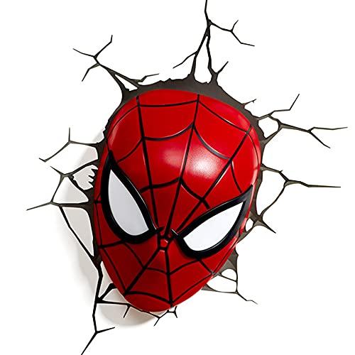MEGICOT Applique murale 3D, veilleuse LED pour chambre d'enfant, chambre à coucher, bureau, lampe de décoration, Tête de Spiderman