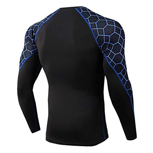 Men Quick Dry Compression Sports Set T-Shirt+Sports Pants Running Gym Tracksuit Long (M, Blue)