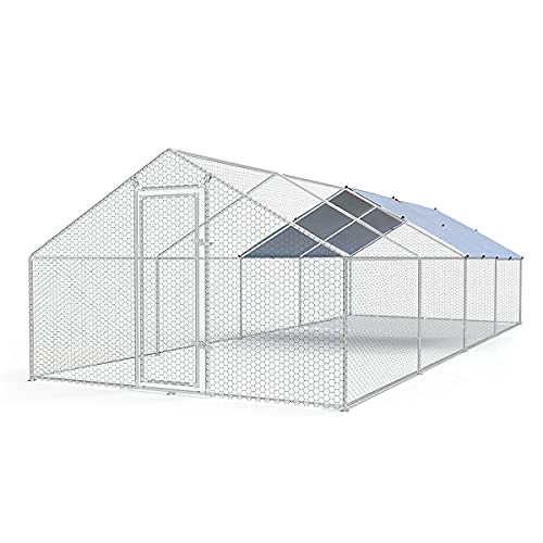 Large Metal Chicken Coop Walk-in Poultry Cage Chicken Run Duck House Chicken Pen Spire Shaped Coop with Waterproof and Anti-Ultraviolet Cover for Outdoor Backyard Farm Use(9.8' L x 26.2' W x 6.4' H)