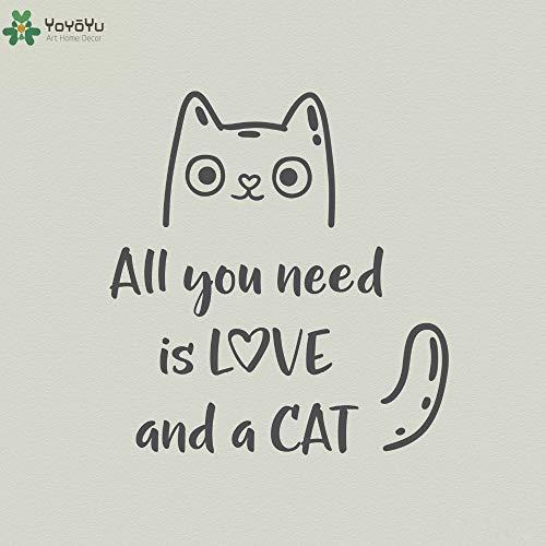jiushizq Tier Wandtattoo Zitate Alles was Sie brauchen, ist Liebe und eine Katze Vinyl Wandaufkleber Wohnzimmer Kunstwand Removable Home Decor DIY S Pink 57x61cm
