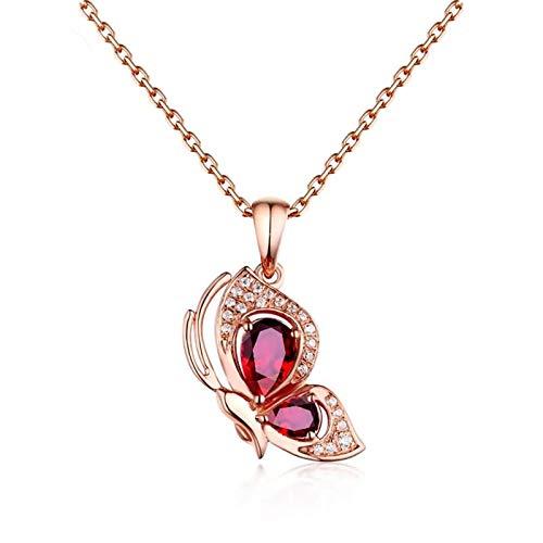 KnSam Collier Femme Fine Papillon Rubis 0.57ct Femme Romantique, Or Rose 18 Carats Élégance Cadeau Noël
