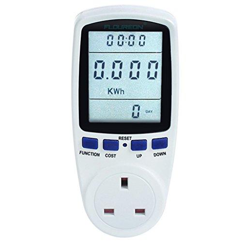 FLOUREON Power Meter UK Energy Monitor AC 230V~250V Power Consumption Meter Energy Cost Calculator Watt Voltage Amp Meter[Energy Class A+++] - 1pack