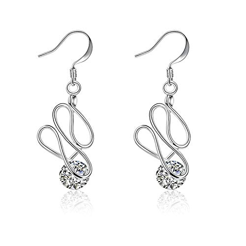 Gymqian Novelty Jewelry-Silver Plated Women Hoop Earrings Silver Twist with Crystal Eardrop