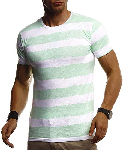 Leif Nelson Herren Sommer T-Shirt Rundhals Ausschnitt Slim Fit Baumwolle-Anteil Cooles Basic Männer T-Shirt Crew Neck Jungen Kurzarmshirt O-Neck Kurzarm Lang LN8319 Mint Medium