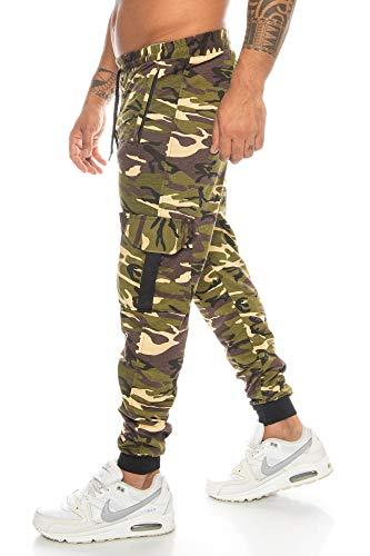 Crazy Age Herren Cargo Sporthose Camouflage Tarnhose Jogginghose Fußballhose Freizeithose Alltagshose (Woodland(004), XXL)