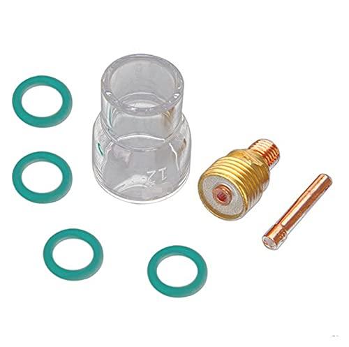 ZXC 7 unids 2.4 mm antorcha TIG Soldadura de la Lente de Gas Molesta # 12 Pyrex Cup Fit para WP-9 / WP-20 / WP-25 Kit # 12 Taza de Vidrio Pyrex con 4pcs O-Rings