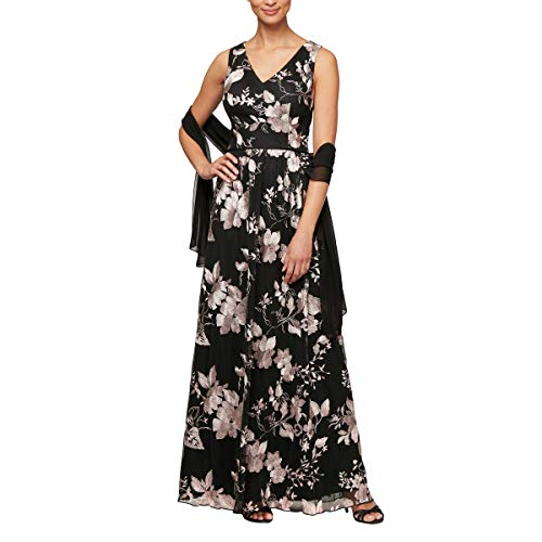 Alex Evenings Women's Long Sleeveless Dress with Shawl, Black/Rose, 16 (Apparel)