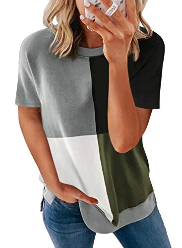 BLENCOT Camiseta de manga corta para mujer, camiseta a rayas para verano, camiseta de manga corta para mujer, suéter, informal, camiseta deportiva de verano S-XXL Az-verde M