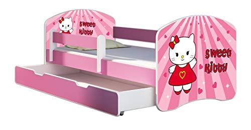 Kinderbett Jugendbett mit einer Schublade und Matratze Rausfallschutz Rosa 70 x 140 80 x 160 80 x 180 ACMA II (15 Sweet Kitty, 80 x 180 cm mit Bettkasten)