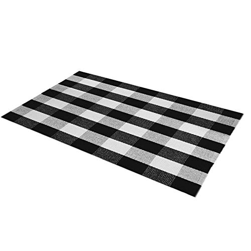 Levinis Buffalo Check Rug 3' x 5' - Retro Farmhouse Lattice Area Rugs - Black and White Checkered Plaid Rug for Front Porch/Kitchen/Bedroom