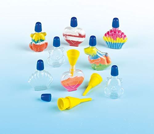 Botellas pequeñas de plástico en 4 diseños diferentes para decorar con arena con tapas a rosca de colores, incluye 2 embudos por pack para proyectos de manualidades infantiles (pack de 8).