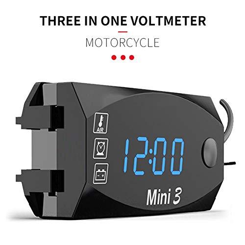 Exuberanter 3 En 1 Reloj Moto Digital Termómetro De Voltaje De Temperatura IP67 Impermeable Manillar Montaje Reloj con Pantalla Digital De Pantalla Grande - 12V/24V