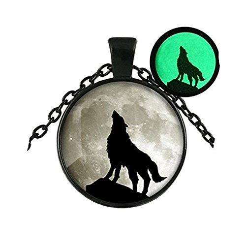Collar de lobo con colgante de luna que brilla en la oscuridad, colgante de luna, joyería animal lobo y luna
