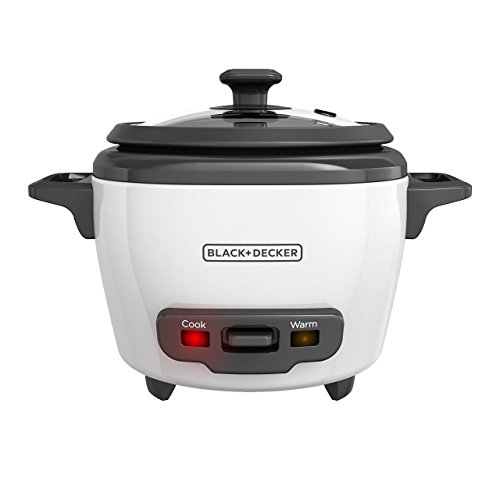 BLACK & DECKER 3-Cup Cooked/1.5-Cup Uncooked Rice Cooker, Single-Serve, White, RC503 - Image