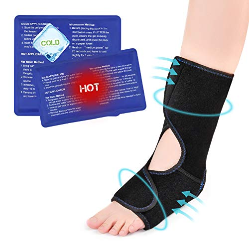 Foot Ice Pack Wrap with 2 Hot & Cold Gel Ice Pack for Injuries, Reusable Gel Cold Compress Pack for Ankle Calf Swelling Achilles Tendonitis Foot Arch and Plantar Fasciitis Pain Relief