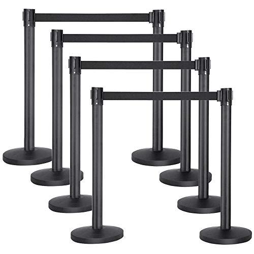 Popamazing–Barriere di controllo code a nastro retrattile, Barriere di sicurezza, colore: nero, coppia di 1/2/3/4, nero