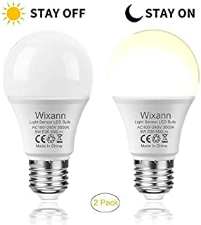 Wixann Dusk to Dawn LED Ligh Bulbs, 9W(60W Halogen Replacement), 3000K Warm White, Auto Stay On/Off Light Sensor Lamp for Patio, Garage, Porch, Yard, Garden- 2PACK