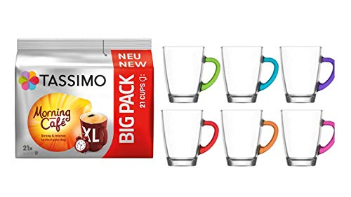 Tassimo Morgen Cafe neu 21 Pro Packung + + Gläserset coffee 6 Stück cc 300