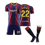 Conjunto de Camiseta de fútbol para niños-22# Vidal Camiseta de Atleta Adolescente Ropa Deportiva Malla Secado rápido Ventiladores de Manga Corta Sudadera-S