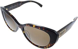 Versace VE 437 108/ Havana Plastic Cat-Eye Sunglasses Brown Lens
