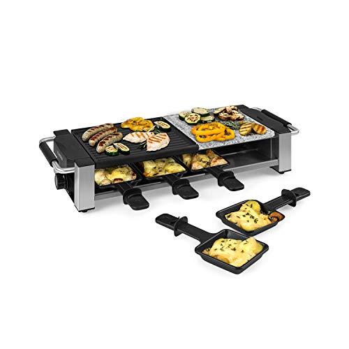 Klarstein Bistecca - Raclette-Grill, 1200 Watt, 2-in-1: antihaft-beschichtete Metall-Grillplatte & Natursteinplatte, Edelstahl-Heizelement, regulierbarer Thermostat, silber