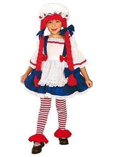 Fancy Me pour Enfants Filles Ragdoll, Chapeau & Cheveux Fête Halloween Costume Déguisement - Rouge, 3-4 Years, Rouge