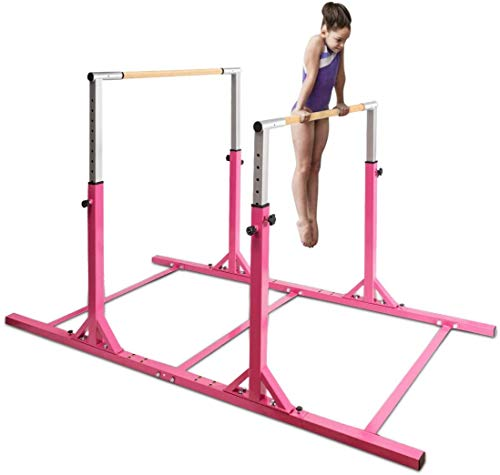 WENHAUS Gymnastics Double Gym Bar for Children 6-12 Years with 11 Levels Height Adjustable 90-140 cm Garden Horizontal Training Device Max. 100 kg in Colour (Pink)
