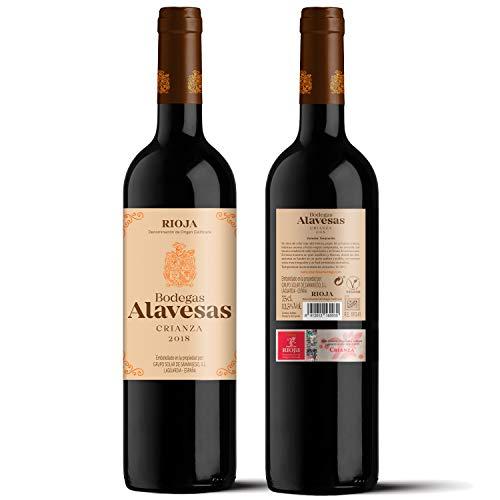 Vino tinto Bodegas Alavesas Crianza 2018, uva 100% tempranillo de la D.O.CA. Rioja Alavesa. Crianza en barrica de roble. Lote de 6 botellas x 75cl