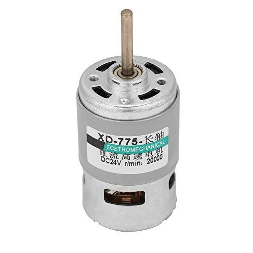Motor de corriente continua, motor 775 de alta velocidad 80w Par de alta potencia Eje de extensión Motor de corriente continua 12v/24v(24 V 20000 RPM)