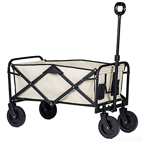 Z-SEAT Carro de jardín Plegable, Carro de Transporte para Playa, 360 & deg;Ruedas, Ruedas de 7 Pulgadas, Pasamanos Ajustables, Pesca, Camping, Exterior, Capacidad hasta 80