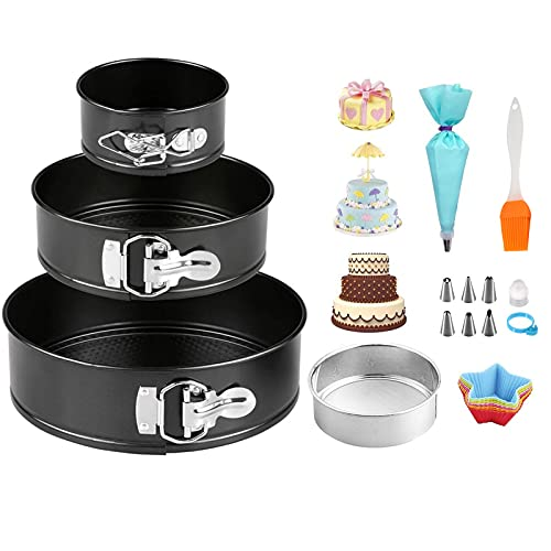 Cake Tin Set 3 Pcs(4'/7'/9')&1 Pcs Flour Sieve,Piping Bags and Nozzles Set 8 Pcs,1 Pcs Oil Brush, 6 Pcs Cupcake in Random Shape and Colours, Springform Trays Cheesecake Pan with Removable Bottom