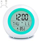 Kids Alarm Clock, Alarm Clocks with 7 Color Changing Night Light, Rechargeable Battery, Snooze Touch Control Temperature for Children' Bedroom, Digital Clock for Kids Girls Boys