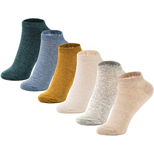 MAGIARTE Womens Ankle Socks Soft Pure Cotton Low Cut Athletic Casual Mutil Color No Show Socks for Women 6-Pack (#color 00)