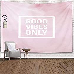 Pink & White Tapestry Good Vibes Only