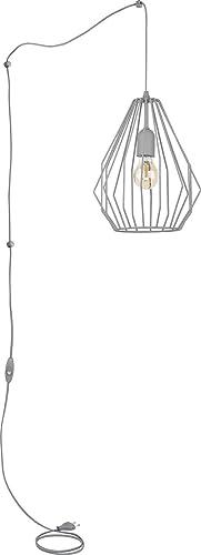 Design Hängeleuchte mit Steckdosen Anschluss Kabel Schalter Draht Schirm Grau