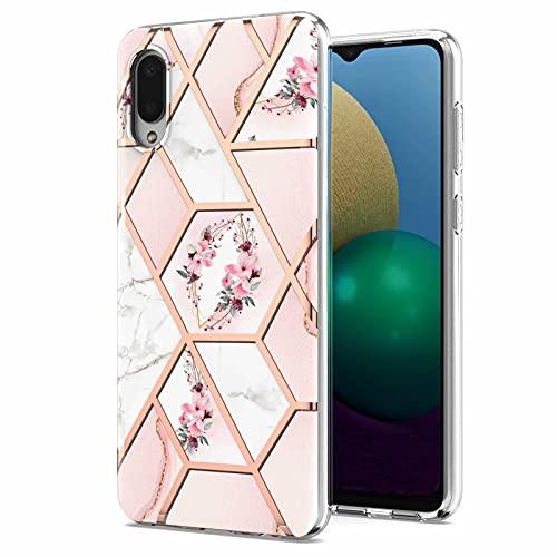 Molg Compatible con Funda Samsung Galaxy A02/M02 Flor Geométrica Mármol Patrón Shell Soft TPU Silicona Anti-Shock Bumper Caso-Polvo