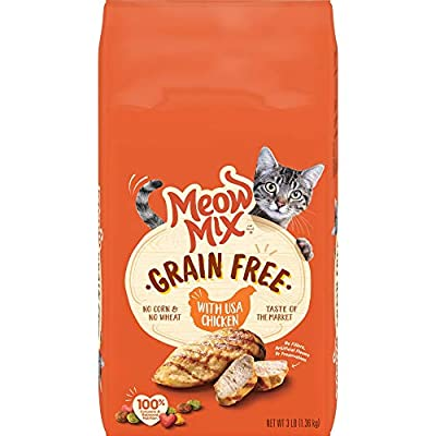 Meow Mix Grain Free Dry Cat Food With USA Chicken, 3 Pound (Pack of 4)