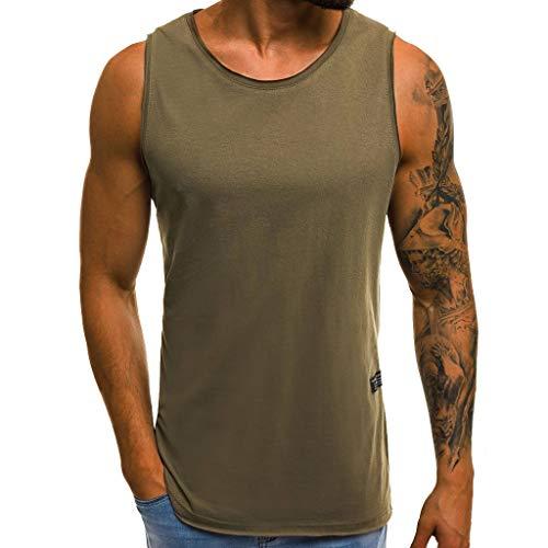 Tops Herren,SANFASHION Mode Persönlichkeit Männer Sommer Beiläufige Dünne ärmellose T-Shirt Top (2XL, Grün)