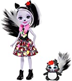 Enchantimals Mini-poupée Sage Moufette et figurine animale Caper aux longs cheveux noirs et blancs, jupe amovible et faux col, jouet pour enfant, FXM72